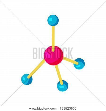 Molecule icon in cartoon style on a white background