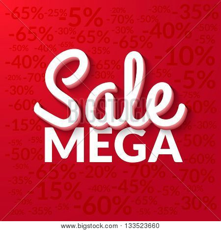Super sale, mega tag sale banner red. Vector EPS 10.