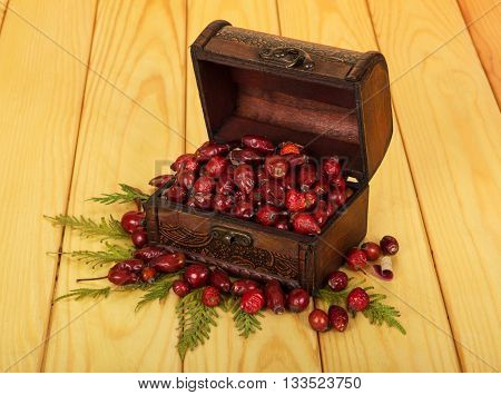 Dried rose hips in a treasury on the background of light wood.