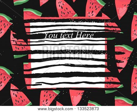 Vector bright summer card with watermelon and ink stroke texture.