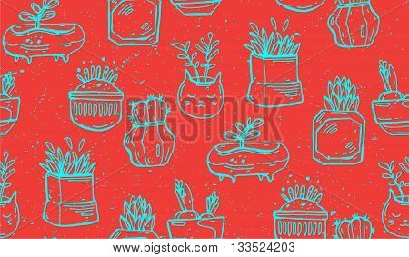 Succulents cacti plant vector seamless pattern. Botanical red and blue line desert flora fabric print.