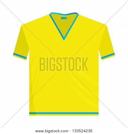 Yellow sports shirt icon in cartoon style on a white background