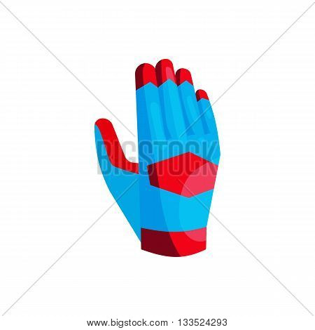 Blue glove of the goalkeeper icon in cartoon style on a white background