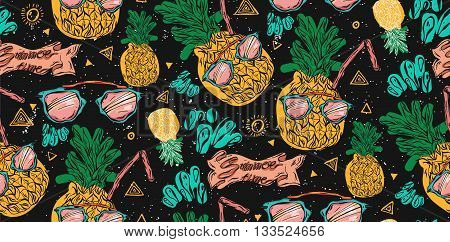 Cute bright seamless vector pineapple pattern with pink sunglasseswater splashes and juice straw on black background. Vector tropical bright summer illustration of fruit pineapple.