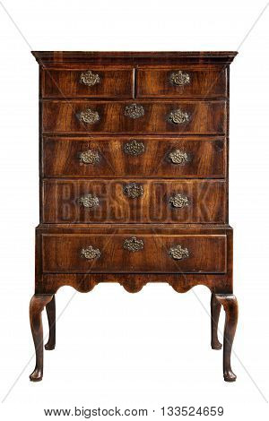 old antique wooden dresser or chest of drawers on stand English European with clipping path
