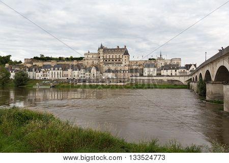 A bridge crosses the Loire river in Amboise