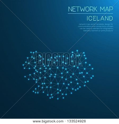 Iceland Network Map. Abstract Polygonal Map Design. Internet Connections Vector Illustration.