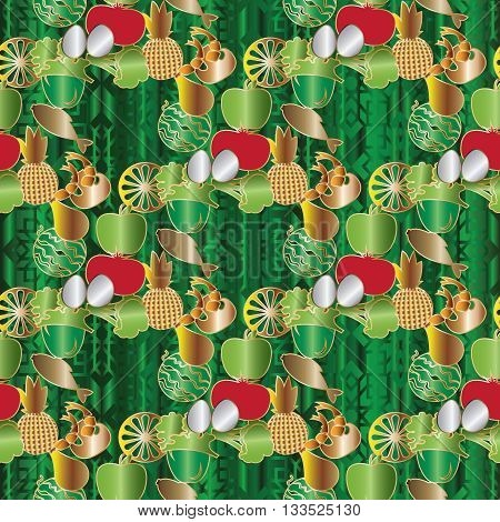 Seamless pattern with healthy eating and vitamins. Mushroom, lemon, pineapple, shrimp, apple, tomato, ,green, fish, pepper, chicken,eggs are on the green background with Arabian ornament.