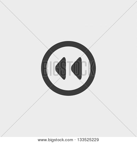 rewinding Icon in a flat design in black color. Vector illustration eps10