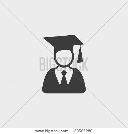 Graduation student icon in a flat design in black color. Vector illustration eps10