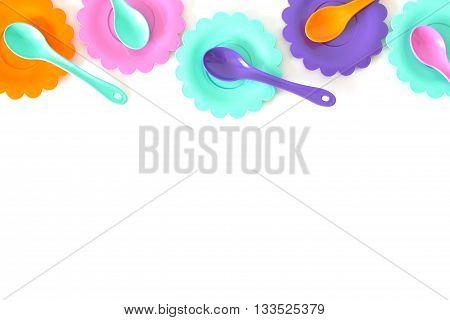 pastel colours pink, purple, aquamarine, color plates set isolated on white