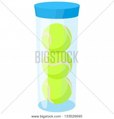 Tube with three yellow tennis balls icon in cartoon style on a white background