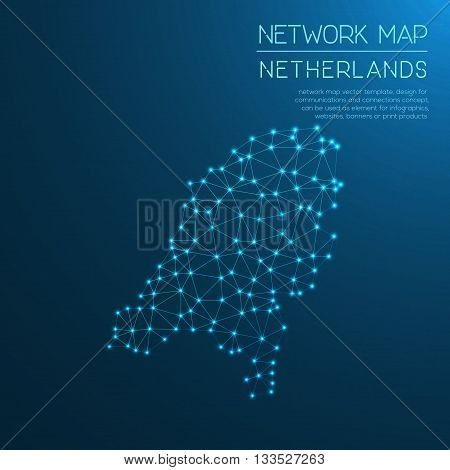 Netherlands Network Map. Abstract Polygonal Map Design. Internet Connections Vector Illustration.