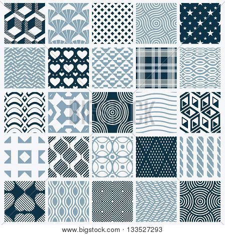 Collection of vector abstract seamless symmetric ornate backgrounds created with simple geometric shapes.