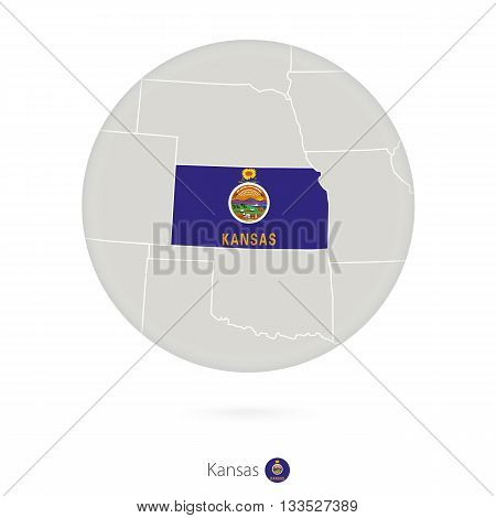 Map Of Kansas State And Flag In A Circle.