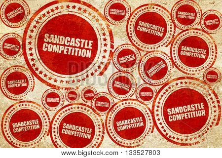 sandcastle competition, red stamp on a grunge paper texture