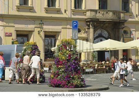Prague Czech - 03 July 2015: Franz Kafka Square in the Old Town is always full of people