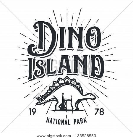 Vector dinosaur island logo concept. Stegosaurus national park insignia design. Jurassic period illustration. Dino Vintage T-shirt badge on white background.