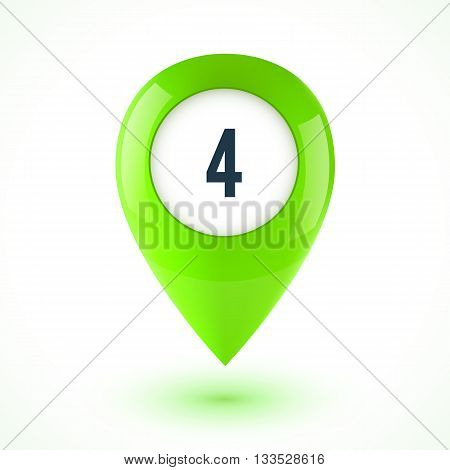 Green realistic 3D vector glossy map point symbol. Part of colorful set.