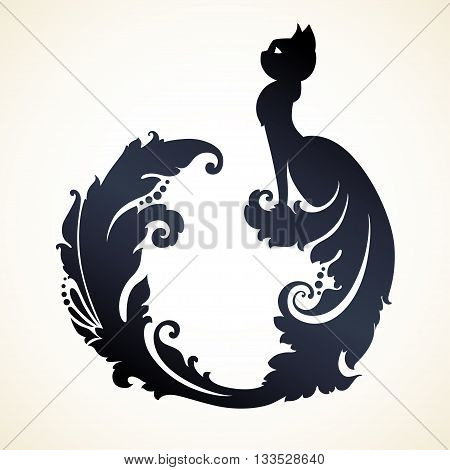 Decorative ornamental cat with long decorative tail. Vector illustration