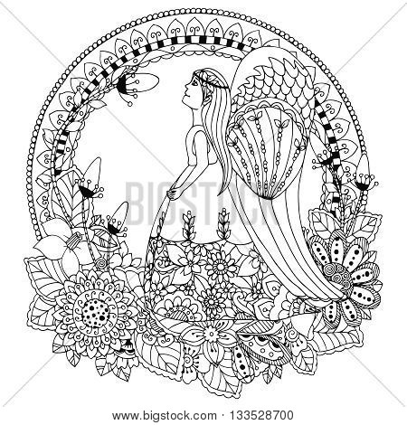 Vector illustration Zen Tangle angel girl with flowers. Doodle drawing. Coloring book anti stress for adults. Black and white.