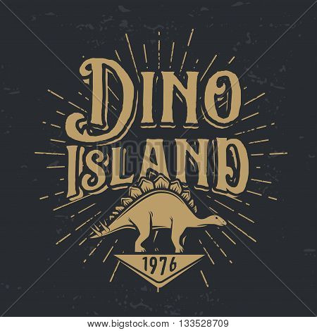 Vector dino island logo concept. Stegosaurus national park insignia design. Jurassic period illustration. Dinosaur Vintage T-shirt badge on white background.