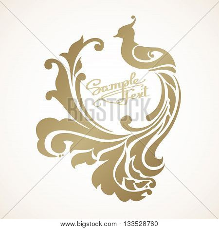 Decorative bird with long decorative tail and place for text. Vector illustration