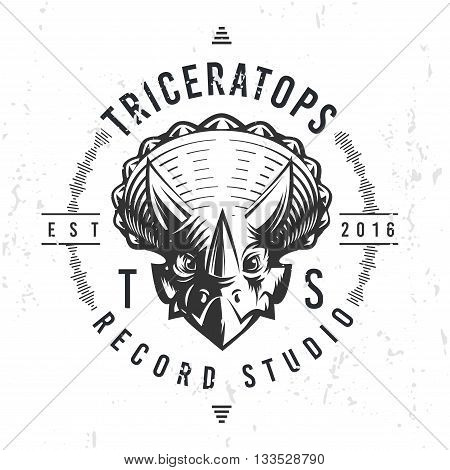 Dinosaur record studio logo template. Triceratops music company logotype. Dino tattoo design. Vector monster label. Cretaceous period retro illustration. Furious Dino insignia concept