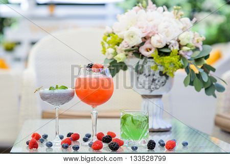Cold tropical cocktails on a table at restaurant