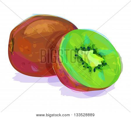 Vector hand drawn painting fruit. Kiwi on white background. This is illustration ideal for a mascot and T-shirt graphic. Stock illustration