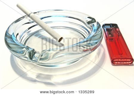 Ash Tray With Cigarrette And Lighter