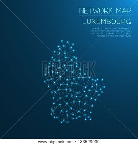 Luxembourg Network Map. Abstract Polygonal Map Design. Internet Connections Vector Illustration.