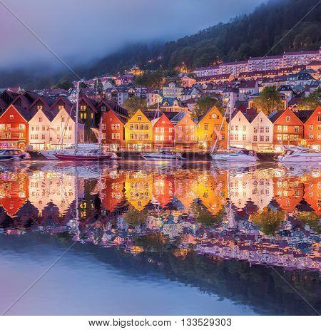 Famous Bryggen Street In Bergen, Unesco World Heritage Site, Norway