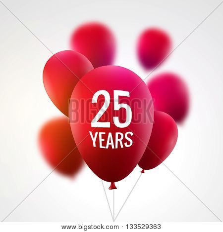 Celebration colorful background with red balloons. Anniversary 25th celebration realistic balloons.