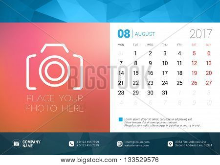 Desk Calendar Template For 2017 Year. August. Design Template With Place For Photo. Week Starts Mond