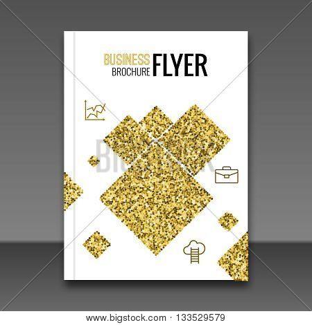 Gold Flyer design template, Greeting Card Design. Golden Dust squares. Vector Illustration. Brochure cover booklet Template. Place for your Text .