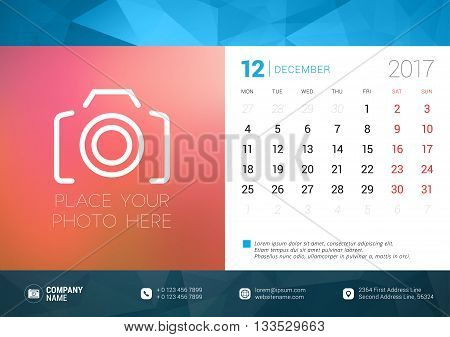 Desk Calendar Template For 2017 Year. December. Design Template With Place For Photo. Week Starts Mo