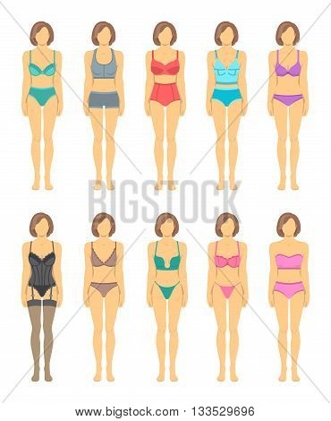 Female figures in fashionable lingerie flat icons. Woman body in underwear front view. Various combinations of bra designs and panties styles. Full length model infographic elements. Wardrobe garments