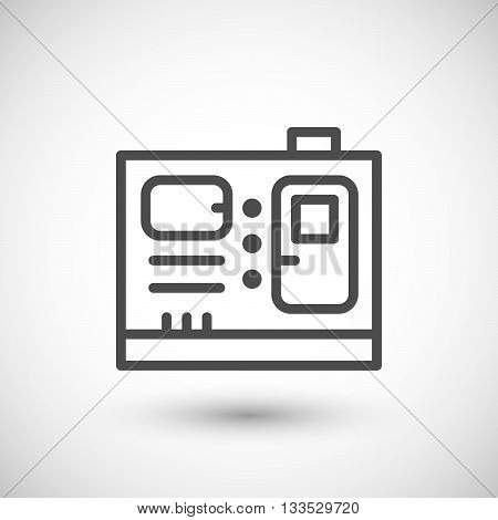Electric generator line icon isolated on grey. Vector illustration