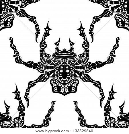 Spider eamless pattern. Background of spiders. Vector illustration image