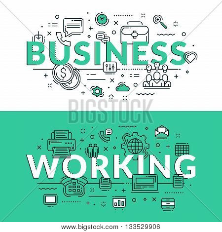 Business And Working Related Icons. Colored Flat Vector Illustration In Seagreen And White Colors