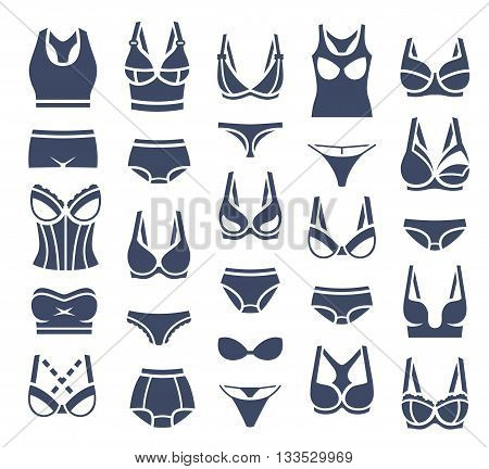 Bra design and panties styles vector flat silhouette icons set. Female underwear pictogram collection. Lingerie fashion infographic elements. Woman wardrobe garments. Various clothes isolated symbols