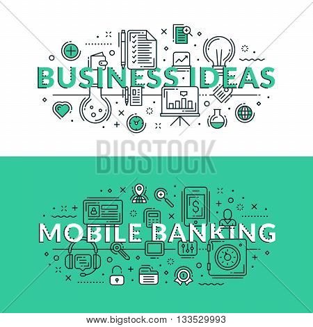 Business Ideas And Mobile Banking Concept. Colored Flat Vector Illustration In Seagreen And White Co
