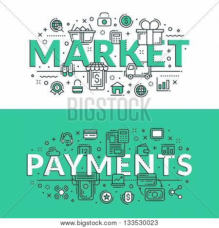 Market And Payments Concept. Colored Flat Vector Illustration In Seagreen And White Colors.