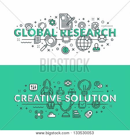 Global Research And Creative Solution Concepts. Colored Flat Vector Illustration In Seagreen And Whi