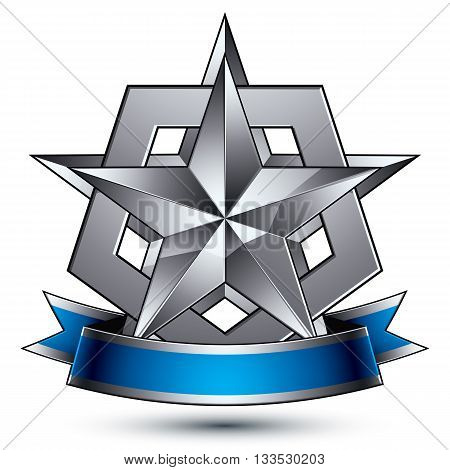 Branded Silver Geometric Symbol With Curvy Ribbon, Stylized Complicated Star Placed Over Protection