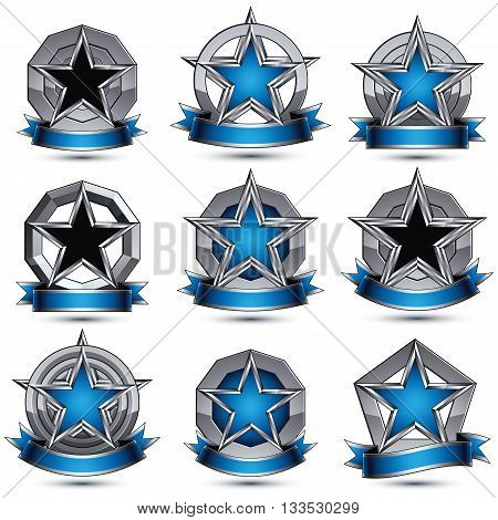 Collection of gray round heraldic 3d glamorous silver graphic icons with pentagonal stars and wavy stripes