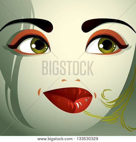 Attractive woman with stylish bright make-up and contemporary hairstyle. Sexy Caucasian sad and depressed lady. Decorative portrait.