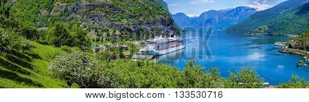 Cruise ship in the marina of famous Flam Norway