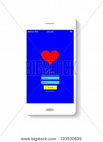 Mobile interface neon color with heart icon